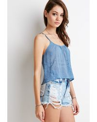 Forever 21 - Blue Embroidered-chiffon Cropped Cami - Lyst