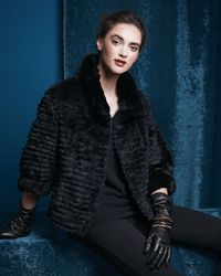 Belle Fare - Black Highcollar Layered Fur Coat - Lyst