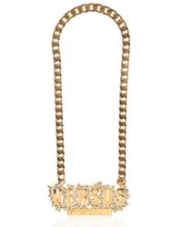 Versus | Metallic Chain & Rhinestone Logo Necklace | Lyst