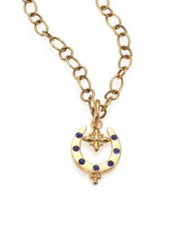 Temple St. Clair | Metallic Fortuna Sapphire, Diamond & 18k Yellow Gold Horseshoe Pendant | Lyst