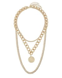 TOPSHOP - Metallic Chunky Chain Multirow Necklace - Lyst