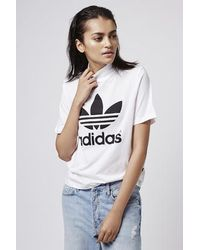 d9ef2c6bab76 TOPSHOP Berlin High Neck Tee By Adidas Originals in White - Lyst