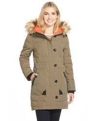 Vince Camuto | Green Down & Feather Fill Parka With Faux Fur Trim | Lyst