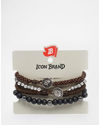 Icon Brand - Brown Still Skinning Mixed Beaded Bracelet Pack for Men - Lyst