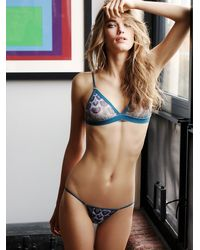 Free People Blue Mesh Well Skimpy Bikini Mesh Well Triangle Bra