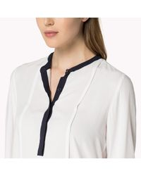 Tommy Hilfiger - White Cotton Viscose Collarless Blouse - Lyst