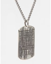 Seven London - Metallic Scratch Dogtag Necklace In Sterling Silver for Men - Lyst