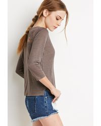 Forever 21 | Gray Embroidered Mesh-paneled Top | Lyst