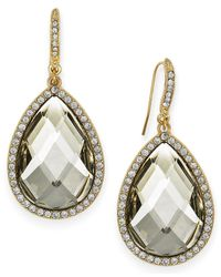INC International Concepts | Metallic Gold-tone Black/grey Cabochon Pave Edge Teardrop Earrings | Lyst