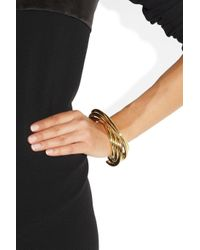 Saint Laurent Metallic Stacked Gold-Plated Cuff
