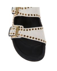 Isabel Marant Natural Lenny Studded Leather Sandals