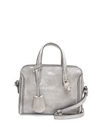 Alexander McQueen - Metallic Mini Padlock Ziparound Tote Bag Silver - Lyst