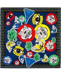 KENZO - Blue Navy Logo Print Silk Scarf - Lyst