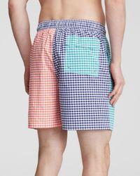 Brooks Brothers Multicolor Gingham Panels Swim Trunks for men