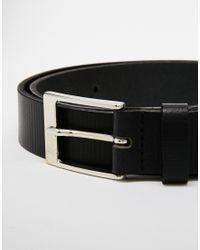 ASOS | Black Smart Leather Belt With Stripe Emboss for Men | Lyst