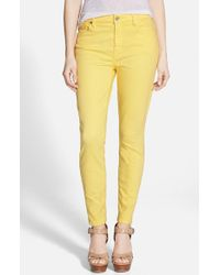 7 For All Mankind | Yellow High Rise Ankle Skinny Jeans | Lyst