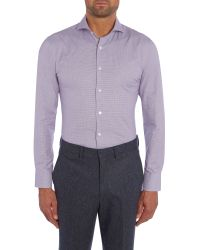 Chester Barrie | Purple Check Tailored Fit Long Sleeve Shirt for Men | Lyst