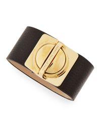 Marc By Marc Jacobs - Circleinasquare Logo Clasp Leather Bracelet Black - Lyst