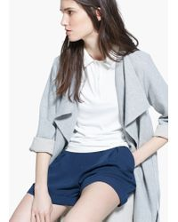 Mango Blue Flowy Pleat Shorts