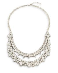 Deepa Gurnani - Natural Double Row Ice Crystal & Suede Bib Necklace - Lyst
