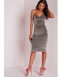 Missguided Metallic Velvet Bandeau Bodycon Dress Grey