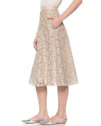 Rochas Natural Eyelet Skirt With Crystal Yoke - Rosa