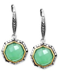 Judith Jack - Green 14K Gold Over Sterling Silver Apple Chalcedony (4-4/5 Ct. T.W.) And Marcasite (1-3/5 Ct. T.W.) Drop Earrings - Lyst