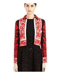 Valentino Women's Embroidered Cropped Jacket From Pre Ss15 In Black, Red And White