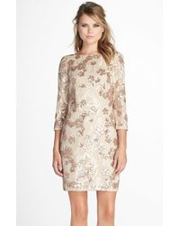 Aidan By Aidan Mattox | Metallic Embroidered Floral Sequin Dress | Lyst