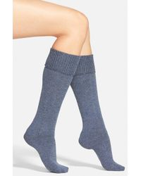Hue | Blue Cuffed Tweed Knee Socks | Lyst