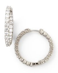 Roberto Coin | Multicolor 35mm White Gold Diamond Hoop Earrings | Lyst