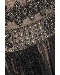 Notte by Marchesa Black Embellished Tulle And Lace Gown