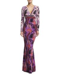 Roberto Cavalli - Red Long-sleeve V-neck Printed Gown - Lyst