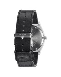 Nixon - Time Teller Silver Watch Black Leather Strap - Silver for Men - Lyst