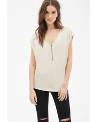 Forever 21 | Natural Oversized Zip-front Top | Lyst