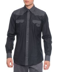 Dolce & Gabbana - Gray Pinstripe-Panel Western Shirt for Men - Lyst