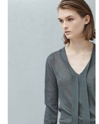 Mango Gray Bow Neck Jumper
