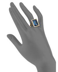 Ippolita Gelato London Blue Topaz, Diamond & 18K Yellow Gold Medium Baguette Ring