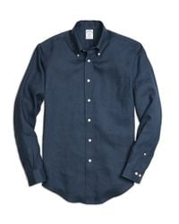 Brooks Brothers | Blue Madison Fit Linen Sport Shirt for Men | Lyst