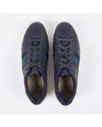 Paul Smith Gray Men's Navy Leather 'lawn' Trainers for men