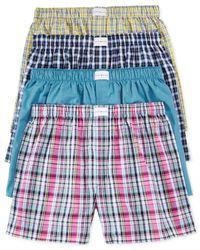 Tommy Hilfiger Multicolor Men'S Woven Plaid Boxers 4-Pack for men