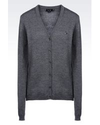 Armani Jeans - Gray Cardigan In Virgin Wool - Lyst