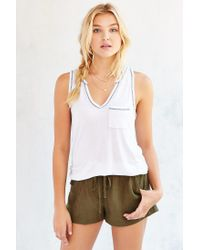 Truly Madly Deeply | White Notch-neck Pocket Tank Top | Lyst