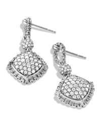 David Yurman | Metallic Cushion On Point Earrings With Diamonds | Lyst