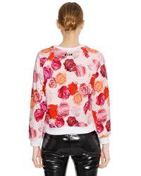 MSGM Pink Makeup Printed Cotton Sweatshirt