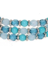 1928 | Shades Of Blue Bead Triple Row Bracelet | Lyst