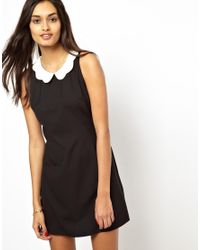 Glamorous | Black Shift Shirt Dress with Scallop Collar | Lyst