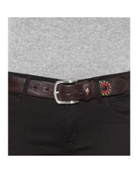 Fausto Colato Brown Embellished Leather Belt