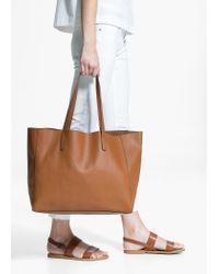 Mango Brown Pebbled Shopper Bag