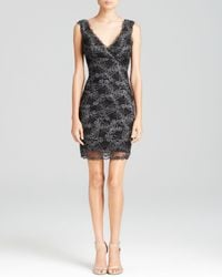 Nicole Miller Artelier | Black Dress - Sleeveless Double V-Neck Lace Illusion Hem Sheath | Lyst